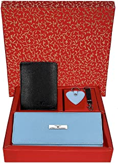 Urban Forest Spencer Black/SkyBlue Leather Wallets for Men & Women Combo Gift Box for Couples - Packed in Traditional Festive Box for Diwali Gifting