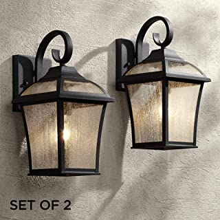 Mosconi Traditional Outdoor Wall Lights Fixture Set of 2 Carriage Style Textured Black Lantern 15