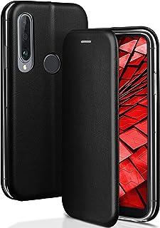 ONEFLOW Handyhülle kompatibel mit Huawei P30 Lite/P30 Lite New   Hülle klappbar, Handytasche mit Kartenfach, Flip Case Call Funktion, Klapphülle in Leder Optik, Schwarz