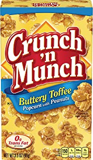 CRUNCH 'N MUNCH Buttery Toffee Popcorn with Peanuts, 3.5 oz. (Pack of 12)