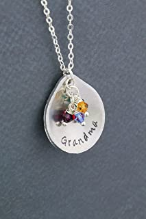 Grandma Birthstone Necklace - Personalized Nameplate, Custom Grandchildren Colors - Handstamped 1 Inch Teardrop - Mom Christmas Gift - DII ABC