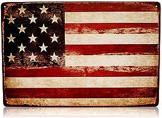 881638b42a48 America USA Flag Man Cave Decor Sign United States American Vintage Retro  Metal Tin Military Signs
