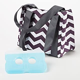 Fit & Fresh Women's Venice Insulated Lunch Bag, Stylish Adult Lunch Bag, Plum & White Chevron