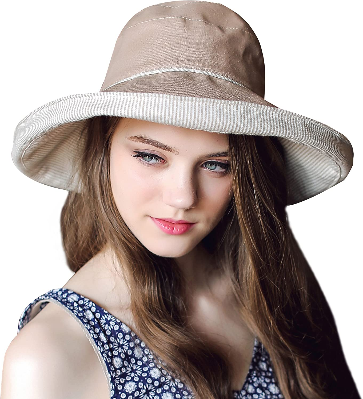 Home Prefer Women's Cotton Fold up Wide Brim Sun Bucket Hat UPF50 Beach Sun Hat