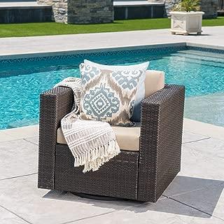 Venice Outdoor Dark Brown Wicker Swivel Club Chair with Beige Water Resistant Cushions (Single, Dark Brown/Beige)