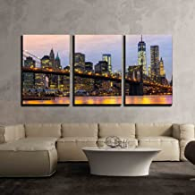 wall26 - 3 Piece Canvas Wall Art - Manhattan Skyline at Sunrise, New York City, USA. - Modern Home Decor Stretched and Framed Ready to Hang - 24