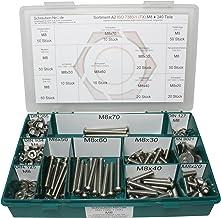 Rango M8 ISO 7380-1 A2 de acero inoxidable (V2A) los tornillos de fijación hexalobular (Torx) - Set que consta de tornillos, arandelas (DIN 125, 127, 9021) y las tuercas (DIN 934, 985) - 340 partes