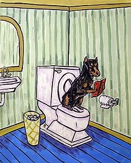 Doberman Pinscher in the bathroom signed dog art print