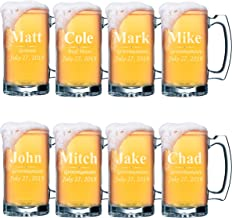 Set of 4, Set of 8 and more Custom Engraved Groomsmen 16 oz Beer Mugs - Personalized Wedding Party Gifts - 3 Lines Style (8)