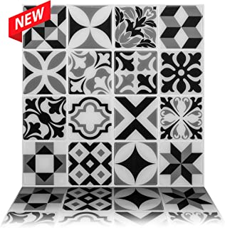 Tic Tac Tiles 10-Sheet Peel and Stick Self Adhesive Removable Stick On Kitchen Backsplash Bathroom 3D Wall Sticker Wallpaper Tiles in Moroccan Mono