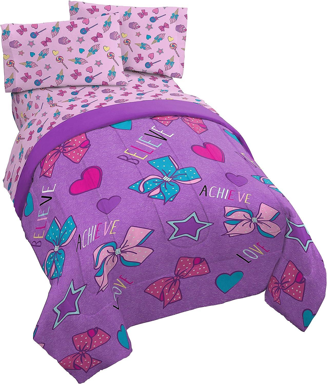 Jay Franco Nickelodeon JoJo Siwa Dream Believe 4 Piece Twin Bed Set, Purple