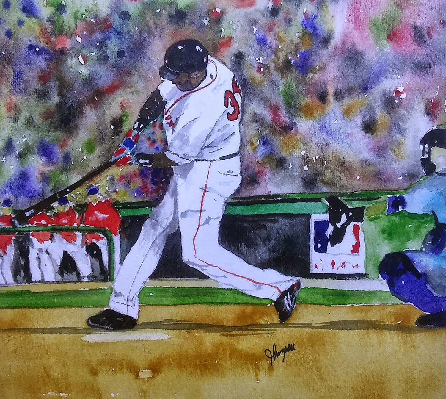 Challenge the lowest price Ranking TOP13 David Ortiz Red Sox Painting Park Fenway Print Art Watercolor