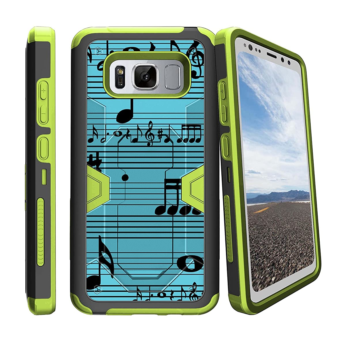 MINITURTLE Case Compatible w/Samsung Galaxy S8 Active SMG892 Green Galaxy S8 Active Case w/Holster & Stand Feature BlueMusical Notes
