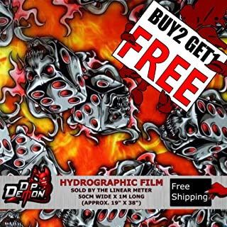 Lm Red Flaming Dice Skulls Fire Flames Yellow Orange Hydrographic Water Transfer Film Hydro Dipping Dip Demon
