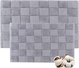 Cotton Bath Rugs Water Absorbent Check Design Bathmat Set of 2 (Size 21x34/17x24 Color Grey)