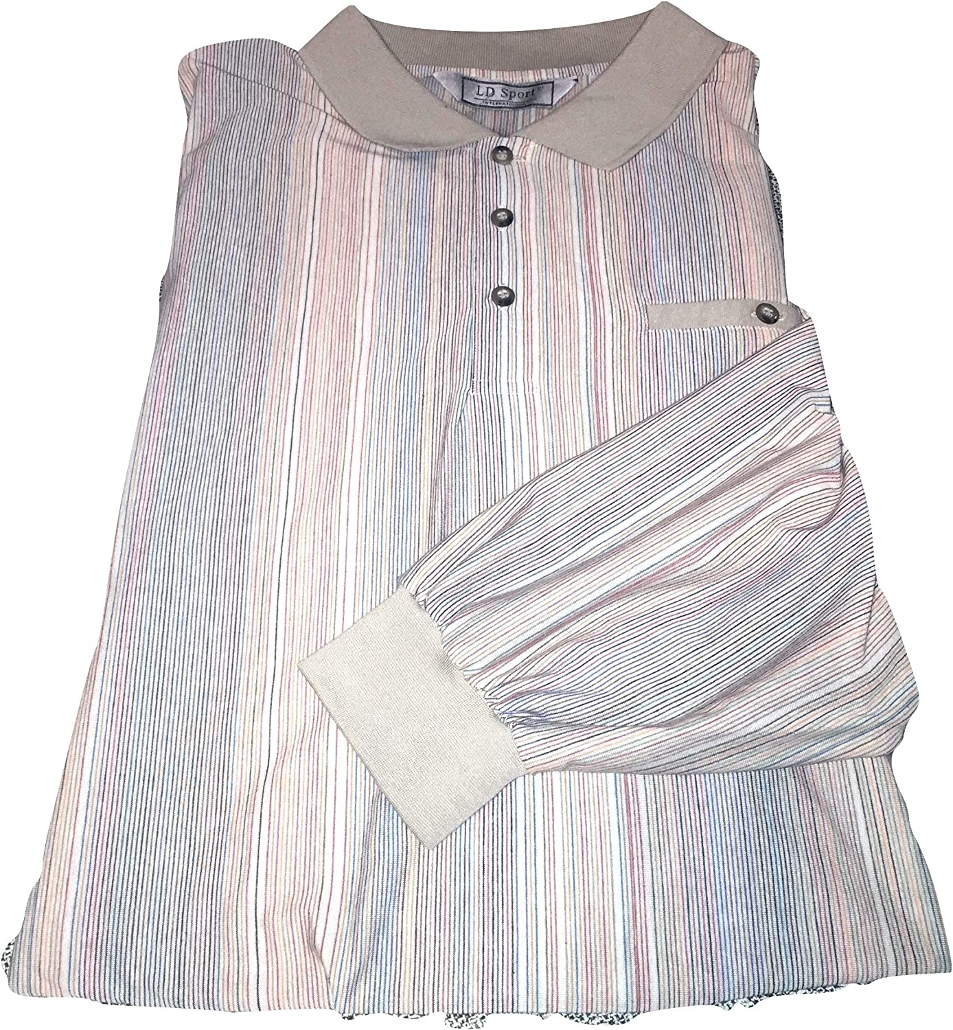 Long Sleeve Lightweight Patterned Big and Tall Banded Bottom Polo Shirts to 6X Tall