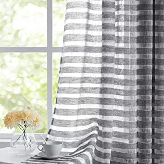 Fragrantex Striped White and Grey Sheer Curtains for Living Room,Linen Horizontal Stripe Curtain Voile Grommet Top 40x 84 Inch 2 Panels