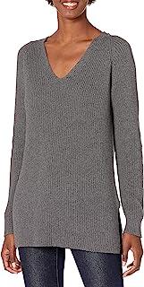 Goodthreads Suéter de Punto de algodón con Cuello en V Chamarra sin botón para Mujer