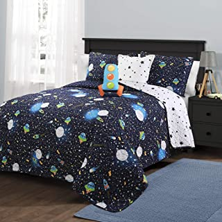 Lush Decor Universe Quilt | Outer Space Stars Galaxy Planet Rocket Reversible 4 Piece Bedding Set for Kids-Twin-Navy