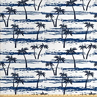 Lunarable Tropical Fabric by The Yard, Grunge Looking Abstract Pattern Exotic Coconut Palm Trees Beach, Decorative Fabric for Upholstery and Home Accents, 2 Yards, Night Blue