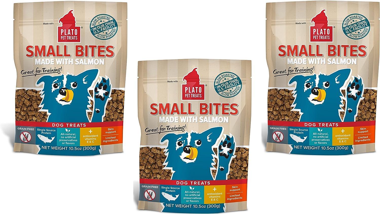 (3 Pack) Plato Pet Treats Small Bites Salmon 10.5 oz