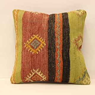 Handmade Turkish Kilim Pillow Cover 16x16 inches Throw Pillow Covers Home Pillow Decopillow Boho Sofa Cushion