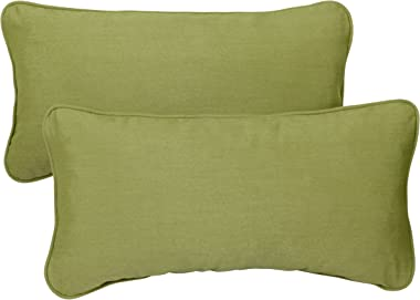 Mozaic AZPS1175 Indoor Outdoor Sunbrella Lumbar Pillows with Corded Edges, Set of 2, 13 x 20 inches, Cilantro Green