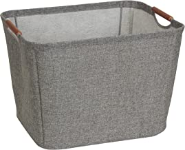 Household Essentials 624 Medium Tapered Soft-Side Storage Bin with Wood Handles, Gray, Grey