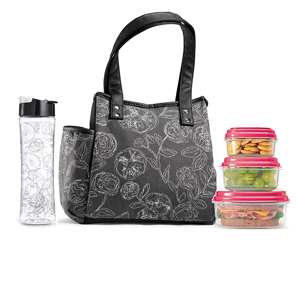 Fit & Fresh Insulated Lunch Bag Cooler Bag Tote Bag Kit for Women/Work/Picnic/Beach, Reusable Containers, Water Bottle, Westerly, Black & White Lace Floral