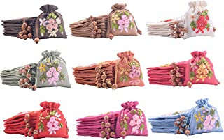VIAMTO 10pcs 11X13.5cm Lining Drawstring Burlap Bags with Flower Stitched,Jewelry Packing Pouches,Wedding Favor Gift Bags, Mixed