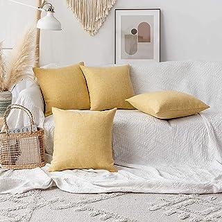 أغطية وسائد منزلية رائعة لتزيين الخريف من الكتان مربعة الشكل للسرير، 45.72 سم × 45.72 سم، أصفر، 4 قطع