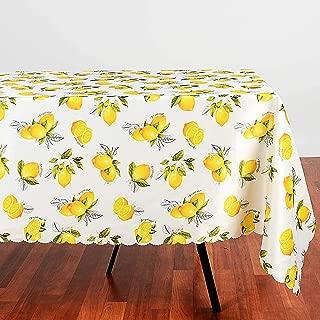AHOLTA DESIGN Turkish Non-Iron Stain Resistant Lemon Table Cloth – Fashionable Limoncello Sukkot Table Cover Home Dining Room Lemon Zest Botanical Print Indoor/Outdoor (Yellow Lemon, Square 60