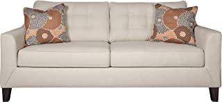 Ashley Furniture Signature Design - Benissa Contemporary Queen Sleeper Sofa - Button Tufted Back Cushions - Alabaster