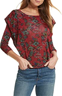 Free People Womens Floral Print Ruffled Blouse