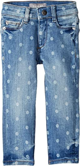 Chloe Mid Wash Skinny with Laser Print Polka Dots Adjustable Waist Band and Snap Button in Ashton (Toddler/Little Kids)