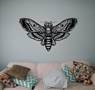 Butterfly Skull Wall Decal Vinyl Sticker Gothic Home Interior Living Room Decor Door Stickers Om Housewares Bedroom Design Anti Stress Decor 3(btf)