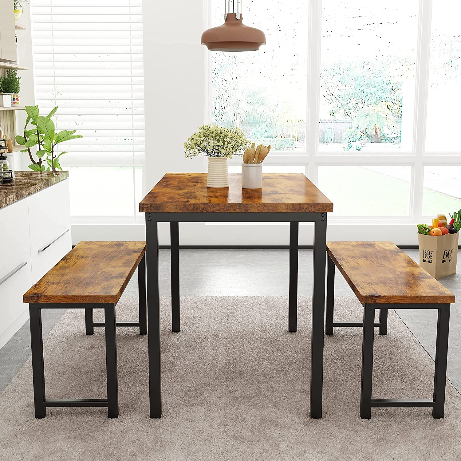 Buy AWQM Dining Room Table Set, Kitchen Table Set with 9 Benches ...