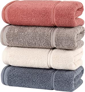 HOULIFE Premium Cotton Hand Towels Set of 4 - Super Soft and Highly Absorbent Hand Towels for Bathroom Daily Use (Multicol...