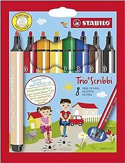 Rotulador escolar ergonómico triangular con sistema de amortiguación en la punta STABILO Trio Scribbi - Estuche con 8 colores