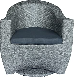 Christopher Knight Home 306022 Koch Outdoor Wicker Swivel Chair, Mixed Black and Dark Gray