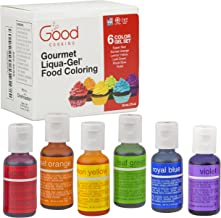 Food Coloring Liqua-Gel 6 PK (4.5 oz, 120mL) - 6 Color Rainbow Kit in .75 fl. oz. (20ml) Bottles - For Baking, Decorating, Fondant, Cooking, DIY Slime, Crafts and More