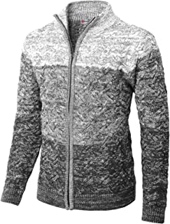 Mens Casual Slim Fit Knitted Cardigan Zip-up Long Sleeve Thermal with Twisted Pattern