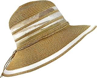 Wasolola Summer Straw Sun Hats Women Foldable UPF 50 UV Protection Wide Brim Summer Holiday Adjustable Hat