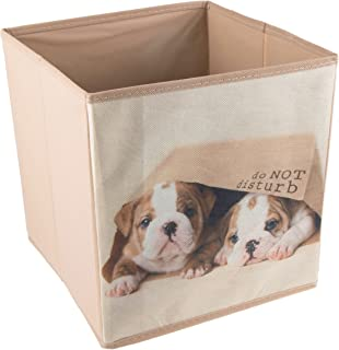 Clever Creations Cute Puppies in Bag Collapsible Storage Organizer Cube Folding Storage Organizer for Animal Themed Rooms   Perfect Size Storage Cube for Books, Shoes, Games