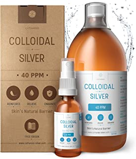 Premium 100% Natural Colloidal Silver 34oz 40 PPM+ Spray to Fill Superior Concentration, Smaller Particles = Better Results Certified by 3 Laboratories We Proudly Manufacture our Product Catharsis