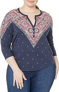 Lucky Brand Women's Plus Size Bandana Print Henley Top