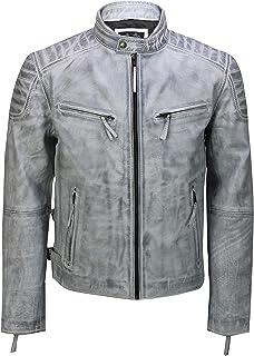 Mens Real Leather Antique Washed White Black Retro Vintage Style Biker Jacket Slim Fit Bomber
