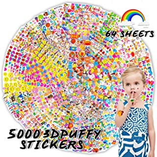 Kids Stickers(5000+ Pcs/Pack), 64 Different Sheets 3D Puffy Stickers for Teens, Toddlers, Girls and Boys. Including Animals, Cars, Trucks, Airplane, Food, Letters, Flowers, Pets and More.