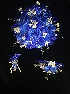 Deluxe 15th Quinceañera Royal Blue Flower Bouquet Set And Corsage, Ramo Para Quinceañera. 15 Anos