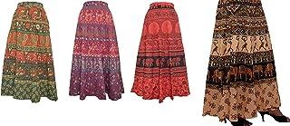 Raika Fashions 100% Cotton Women's Jaipuri Wrap Around Skirt - (Free Size, Multi-Coloured) Pack of 4